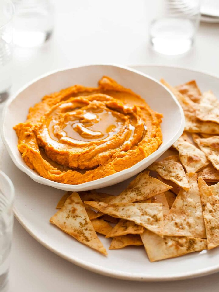 A recipe for Sweet Potato Hummus with Cumin Flatbread Chips.