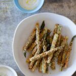 Baked Asparagus Fries with a trio of dipping sauces.