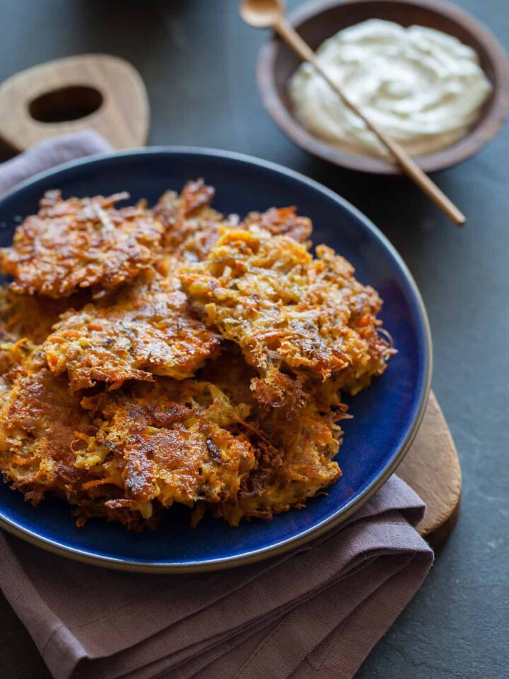 Root Vegetable Fritters served with sour cream.