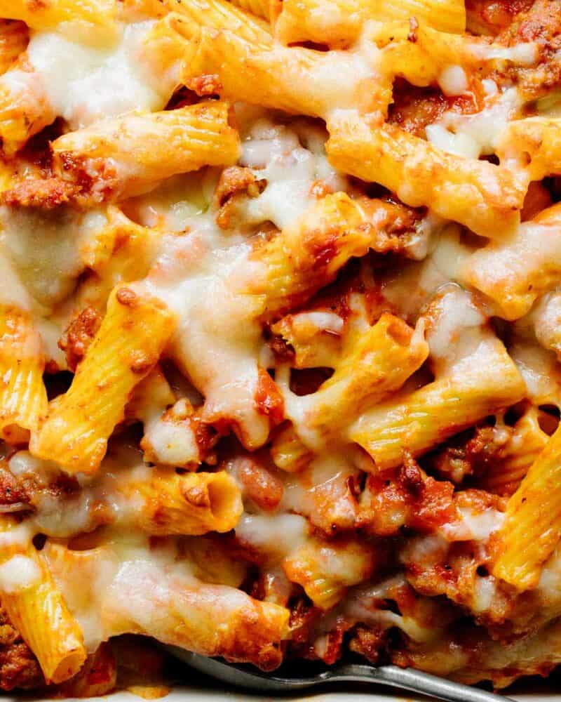 A close up of the ziti and cheese in an easy baked ziti recipe.