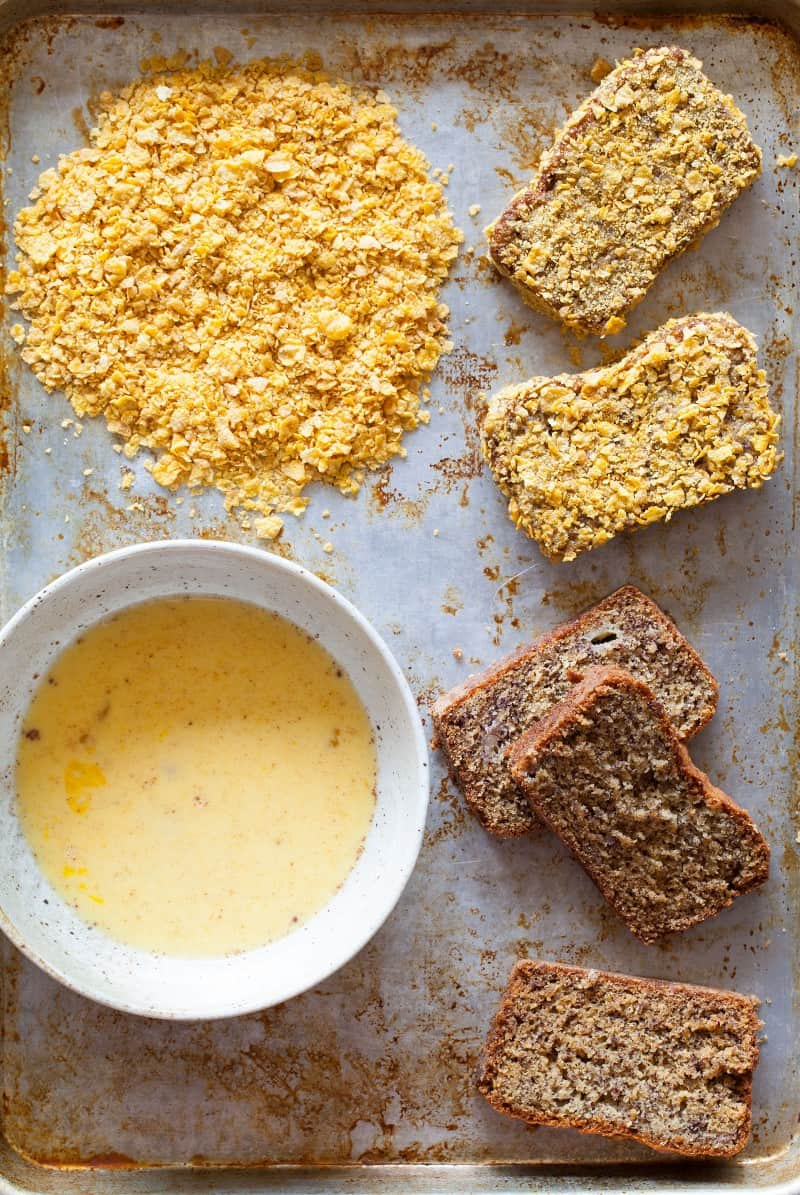 A recipe for Banana Bread French Toast coated in corn flakes.