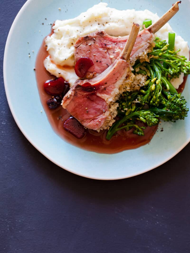 A recipe for a Roasted Rack of Lamb.