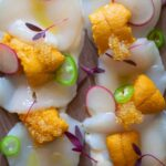 A recipe for Scallop and Uni Crudo.