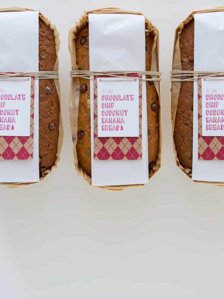 Banana bread gift packaging with label tied with twine.