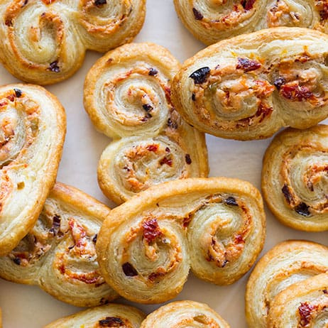 Sun Dried Tomato Olive & Goat Cheese Palmiers | Spoon Fork Bacon