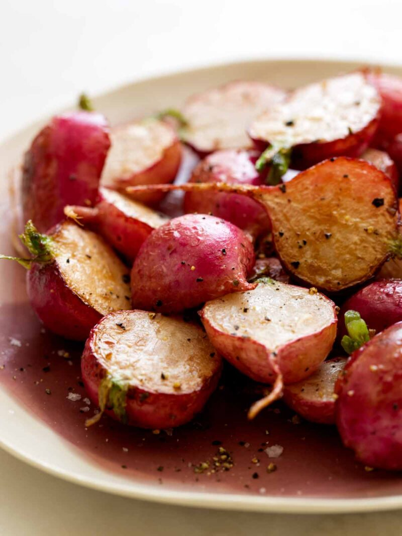 A recipe for roasted radishes.
