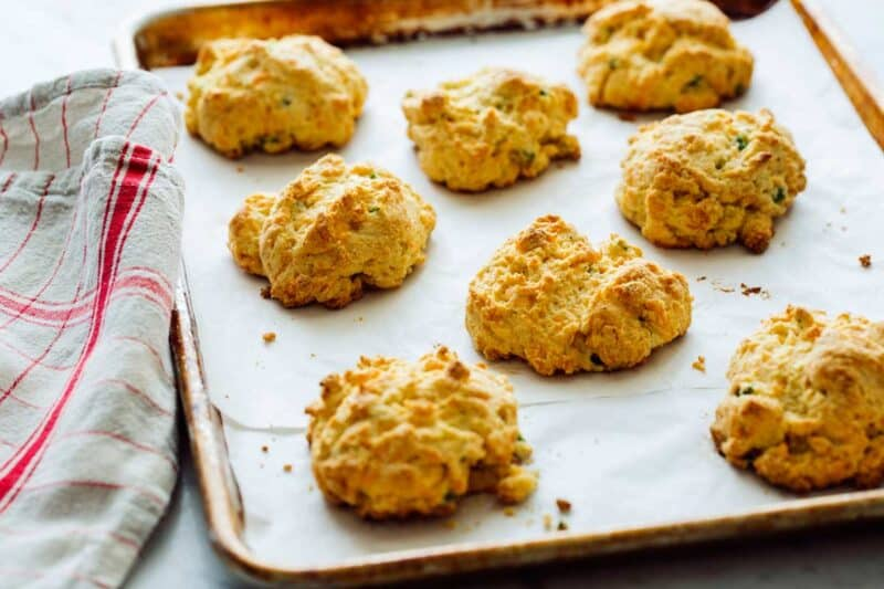 Cornmeal and Jalapeño Cheddar Biscuits right out of the oven.