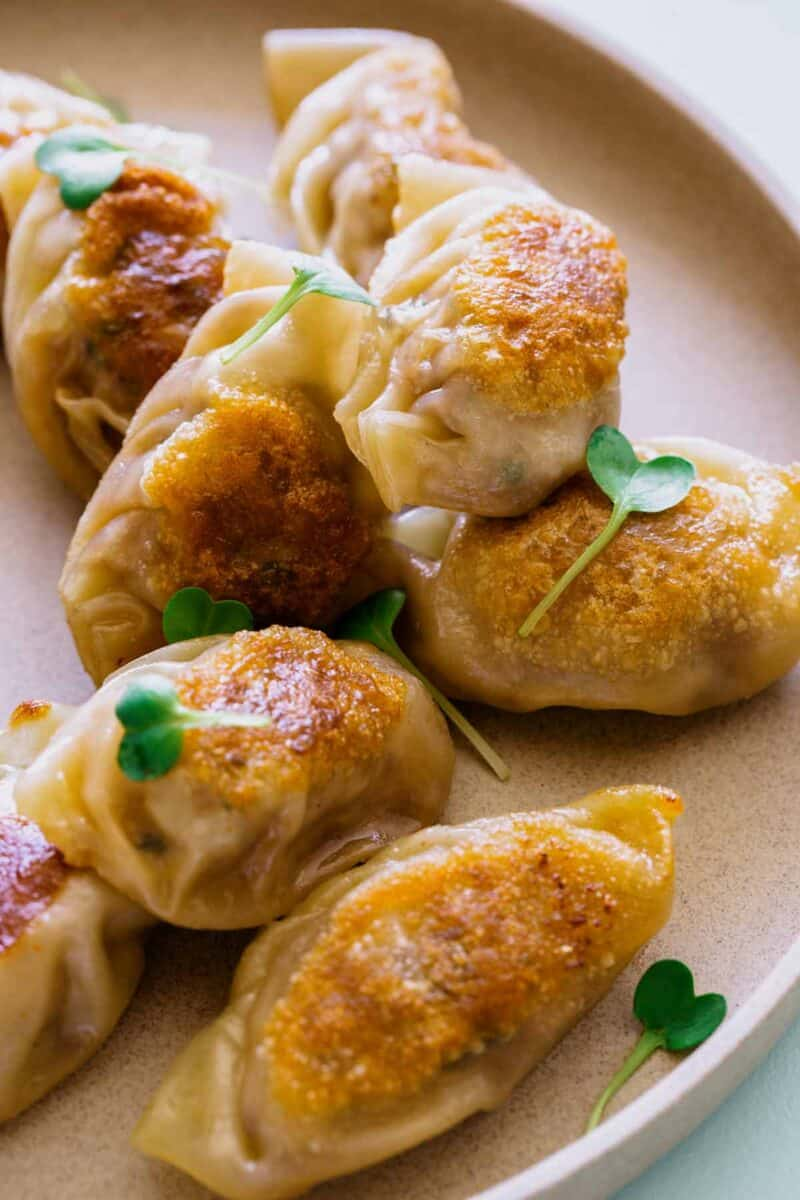 A close up of pork potstickers showing off its crispy skin.