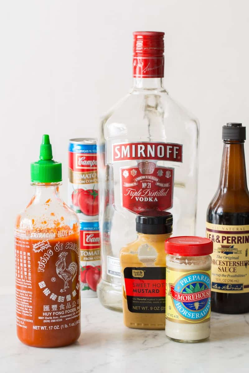 A close up of ingredients for a simple bloody mary.
