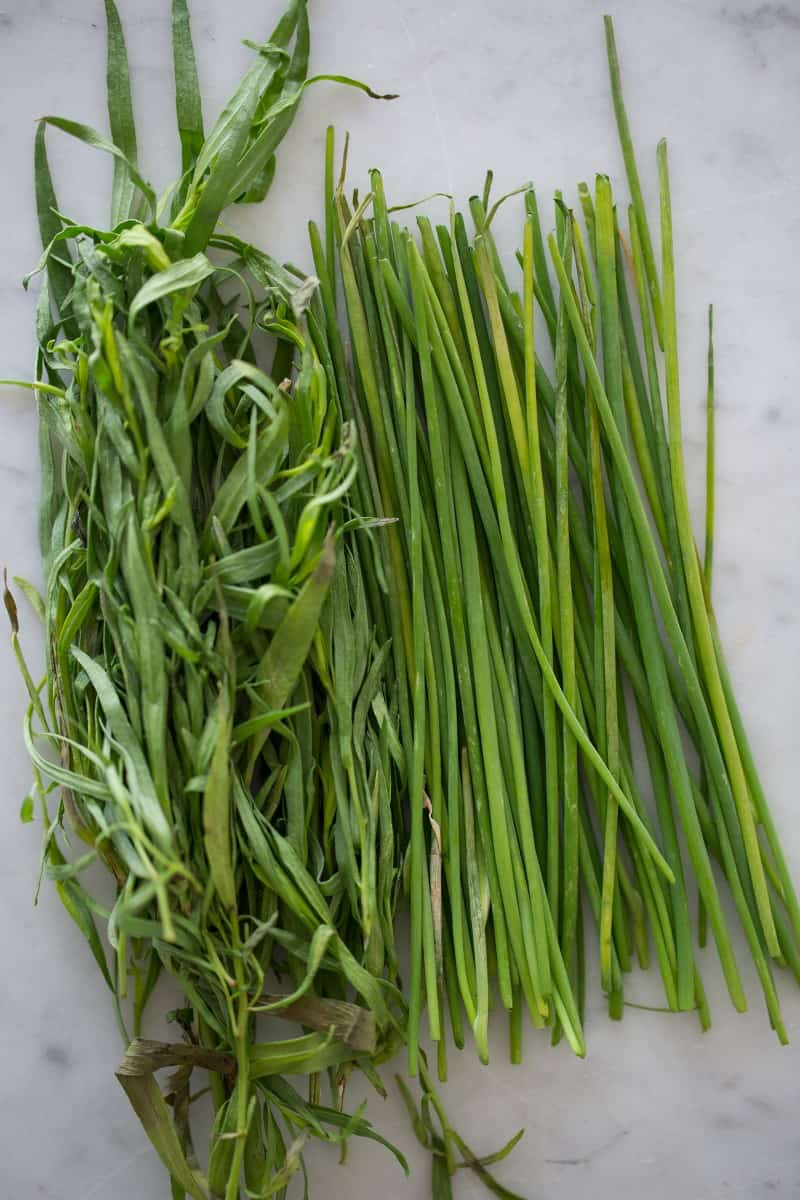 Fresh tarragon and chives on a marble kitchen counter.