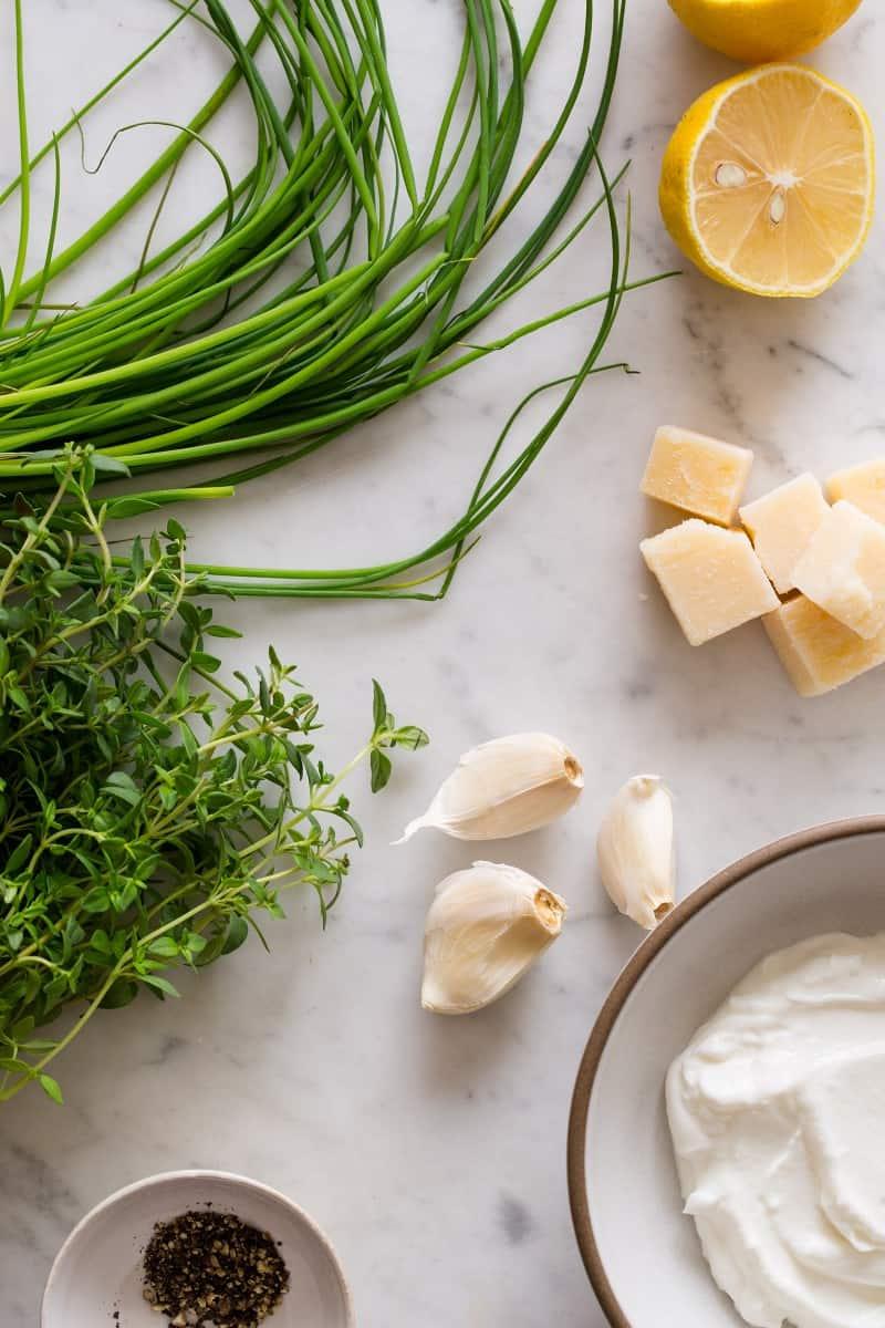 Ingredients for a lemon asiago dip.