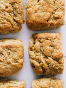 A close up of brown butter biscuits.