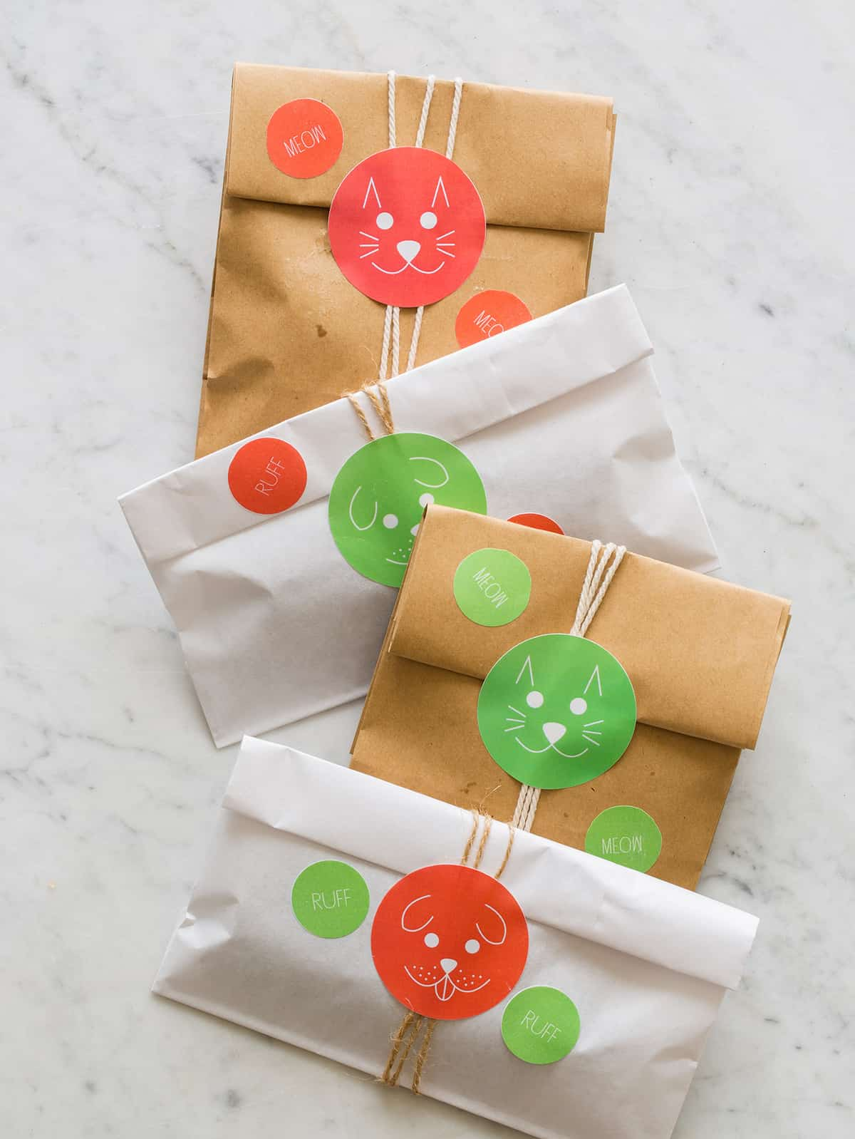 A close up of several wrapped pet presents.