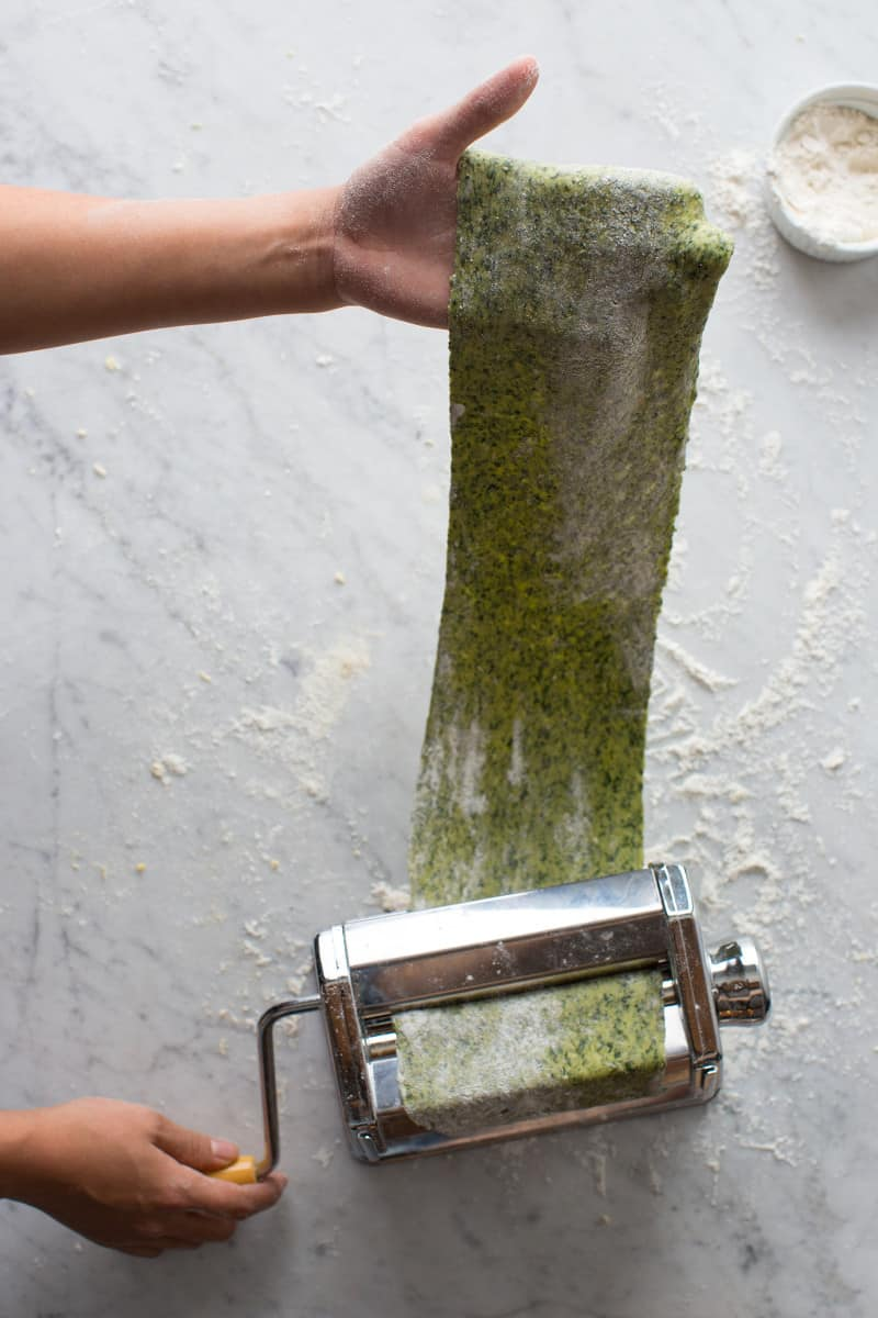 A large piece of spinach pasta dough being pulled though a pasta machine.