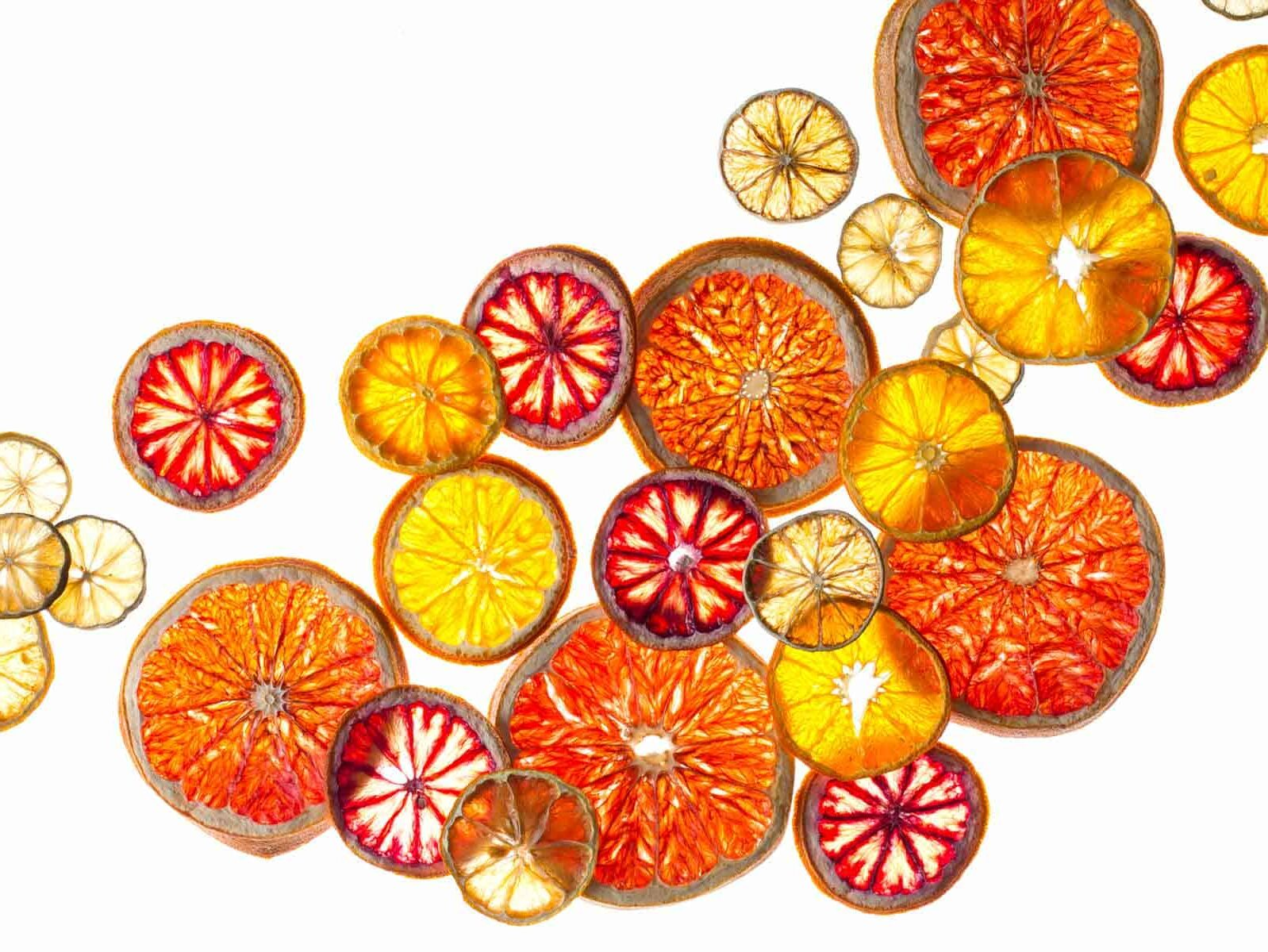 A variety of dehydrated citrus wheels.