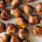 A close up of ginger garlic cocktail meatballs.