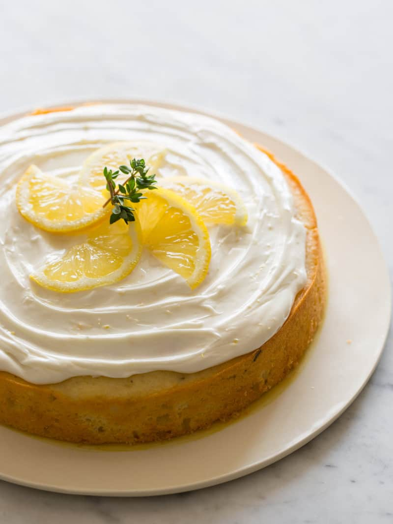 Simply decorated Easy Lemon Thyme Cake recipe.
