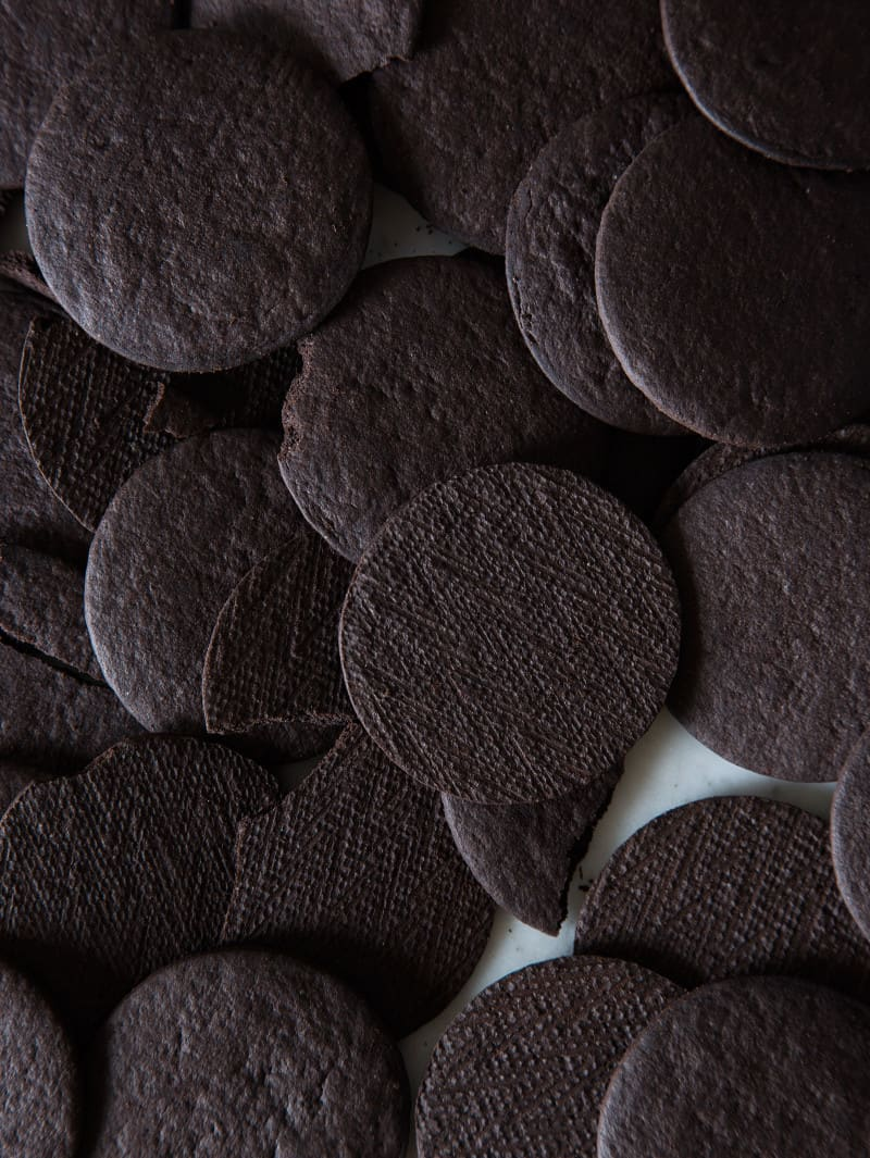 A close up of chocolate wafers.