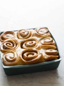 A pan of brown butter cinnamon rolls.