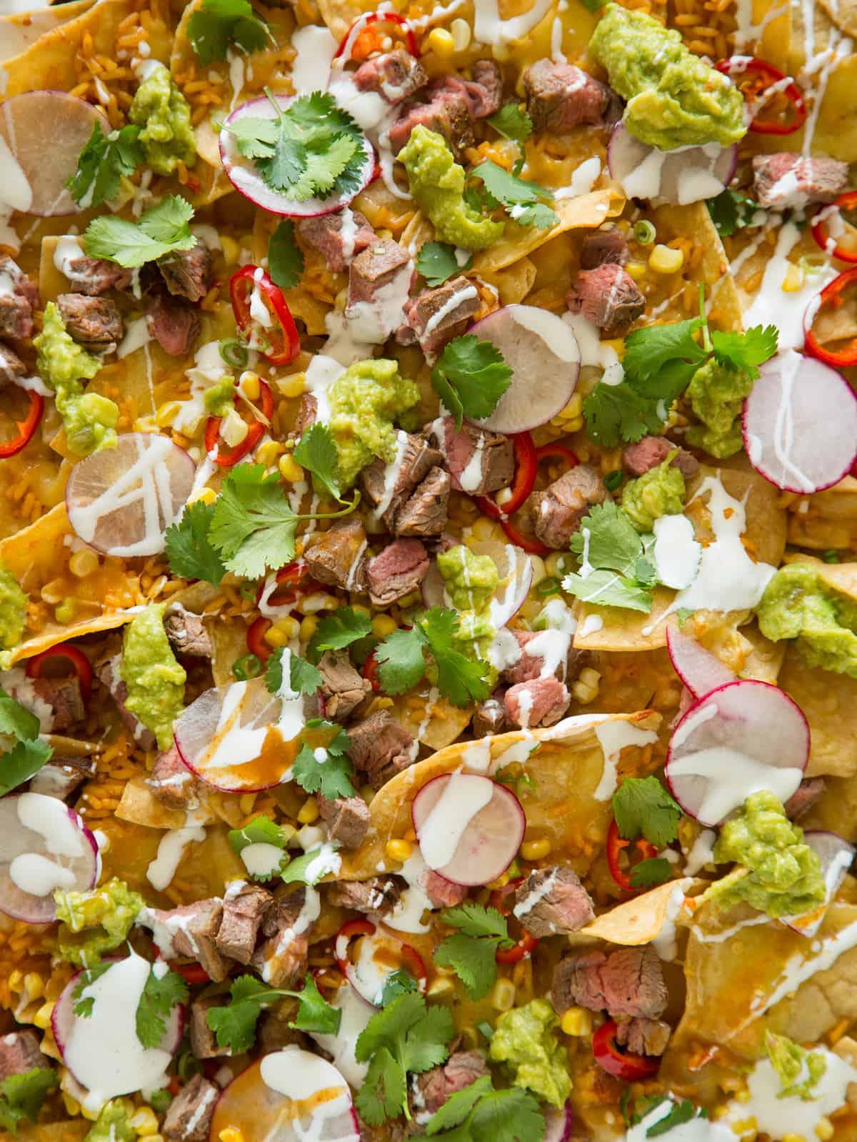 A close up of carne asada nachos.