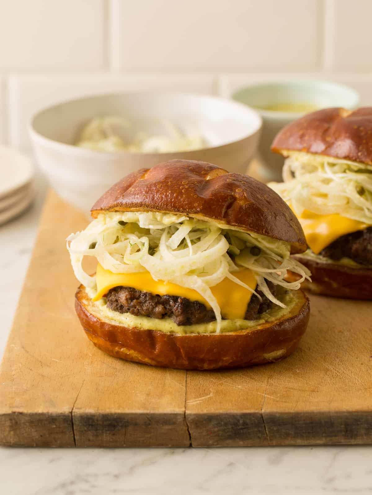 Fennel Slaw Topped Garlic and Peppercorn Burger
