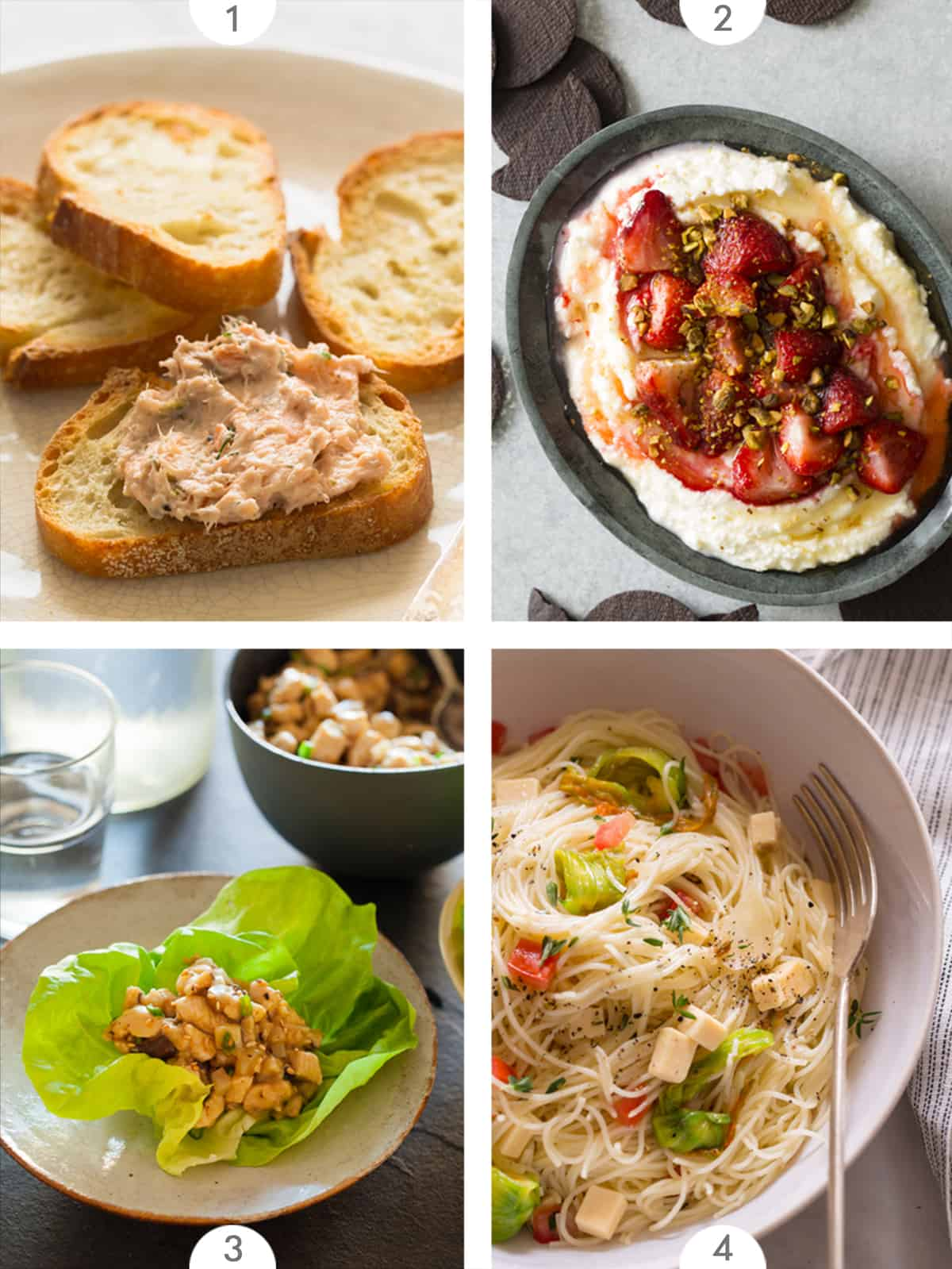 Four photo grid of Mother's Day recipe ideas.