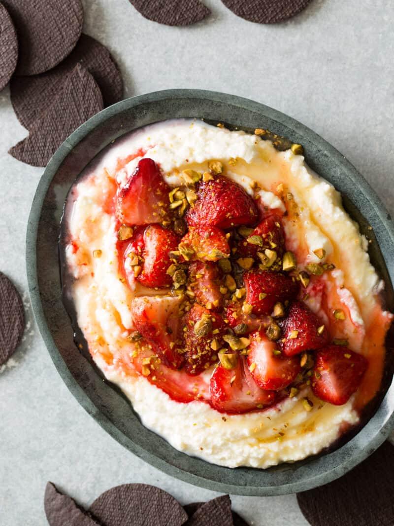 Roasted Strawberries over Honey Whipped Ricotta