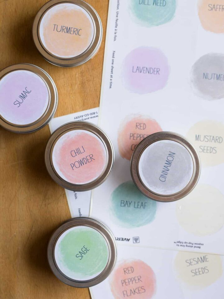 Printed spice labels and labeled containers.
