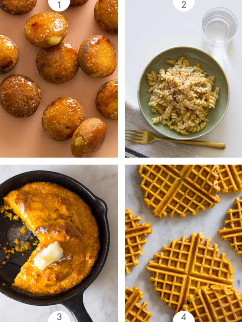 Four photo grid with pumpkin fall inspired recipes.