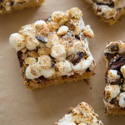 A close up of sliced s'mores rice krispies treats.