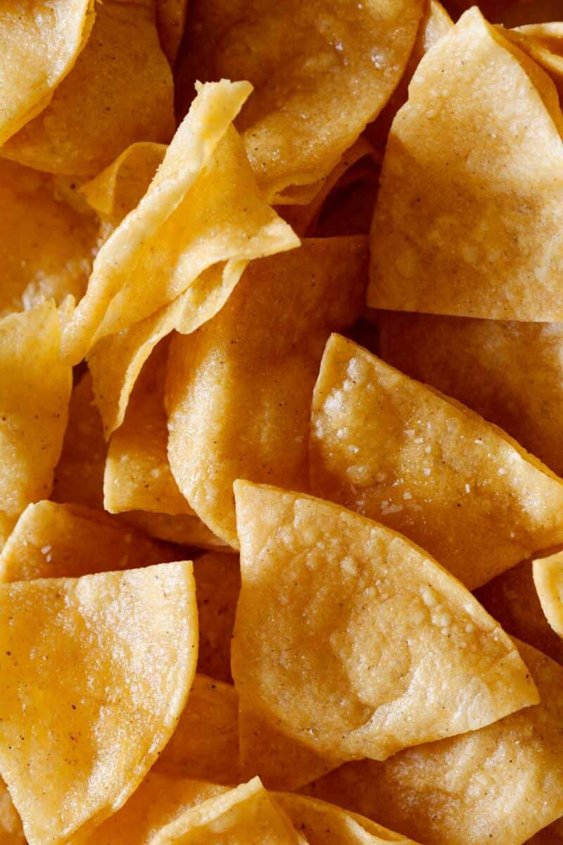 homemade tortilla chips for chilaquiles