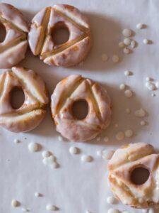 Glazed old fashioned doughnuts.