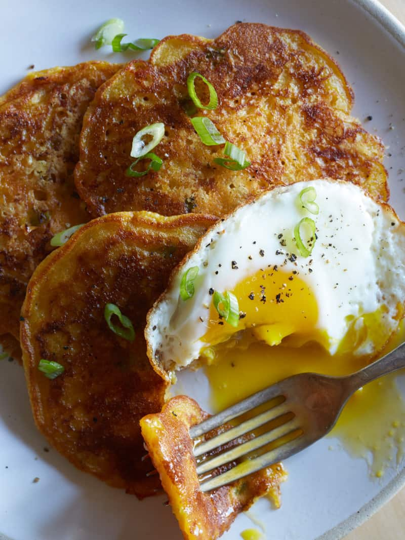 Cheesy Pumpkin and Green Onion Pancakes
