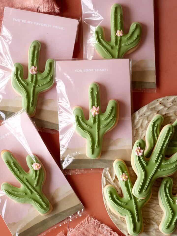 DIY cactus cookie valentines.