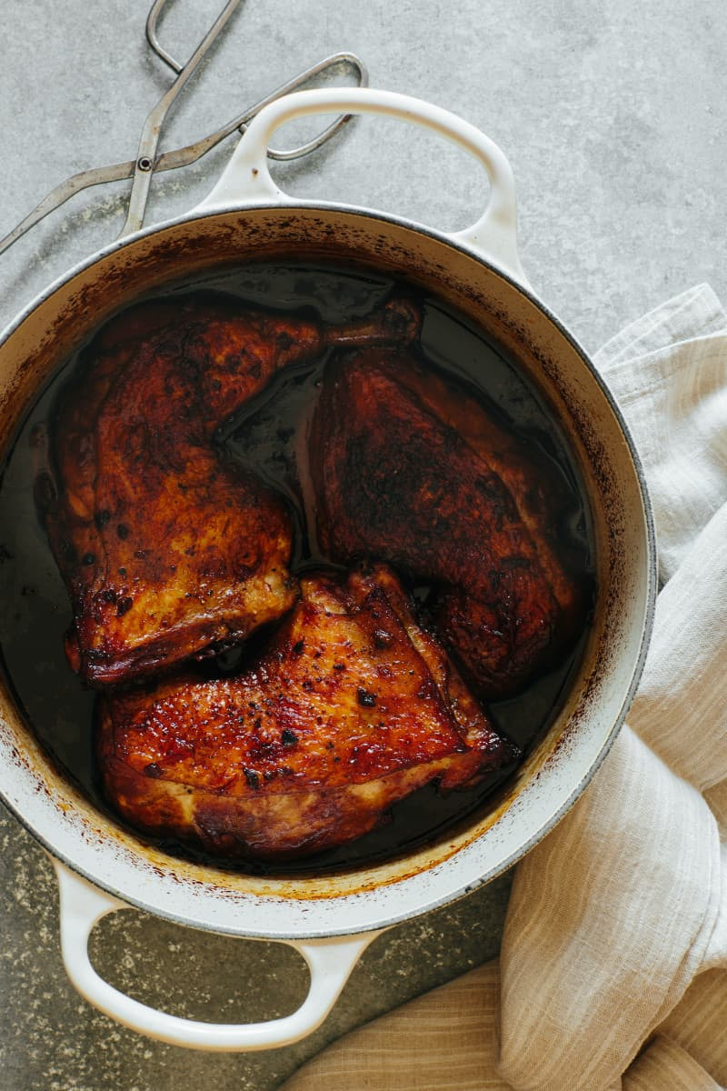 Freshly braised chicken recipe in a pot ready to be served over rice.