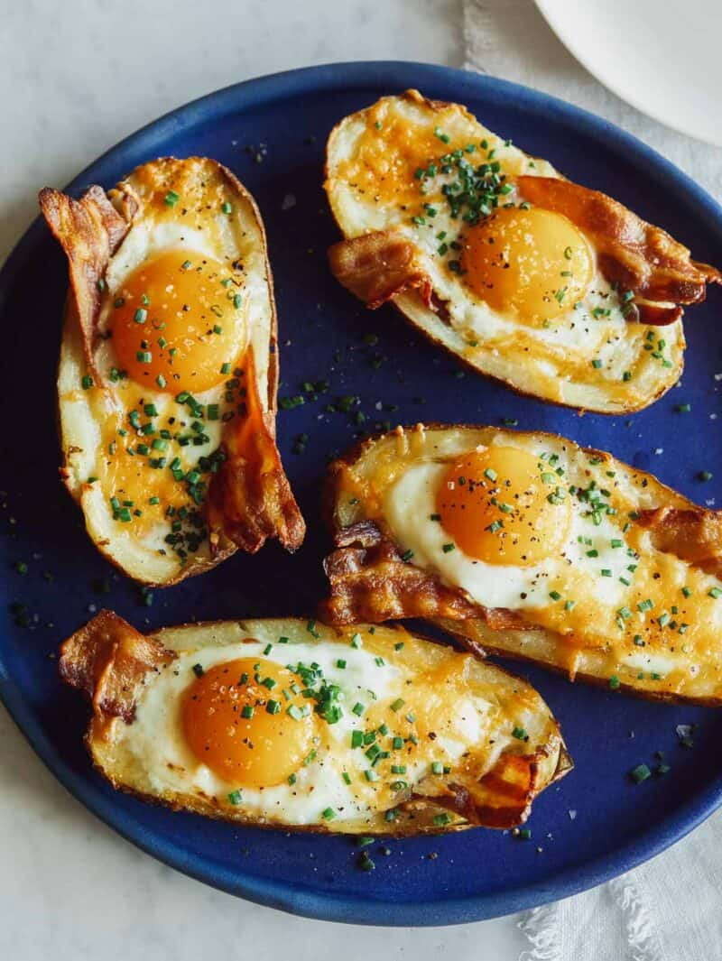 Twice baked breakfast potatoes on a plate ready to be served.