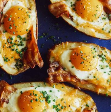 A close up of twice baked breakfast potatoes.
