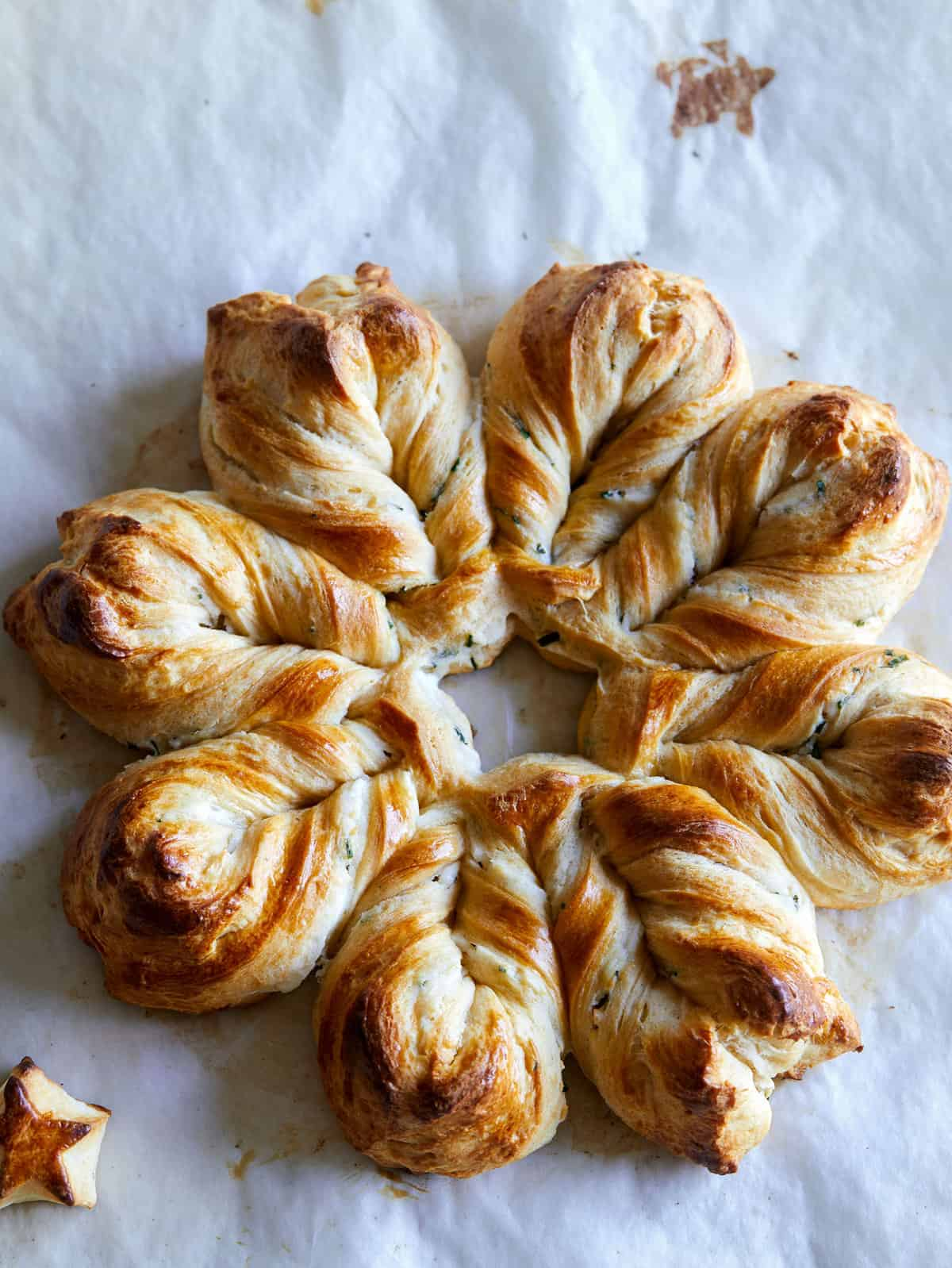 Herb and cheese braided star bread.