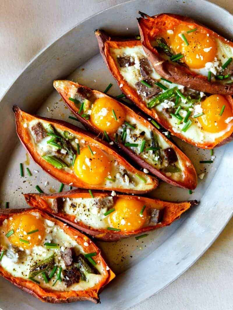 Twice Baked Steak and Egg Sweet Potatoes