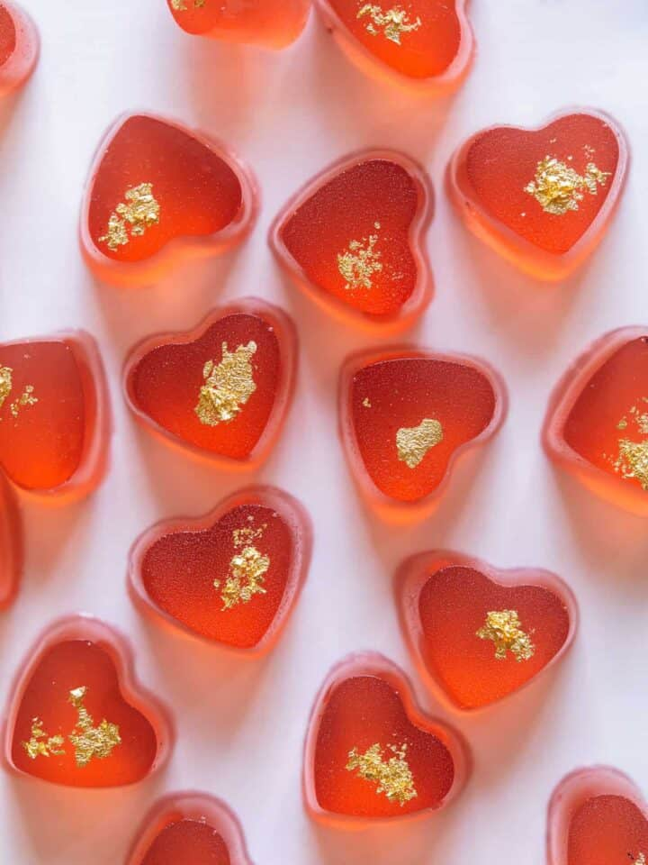 Gummy hearts made with rose and a little gold fleck.
