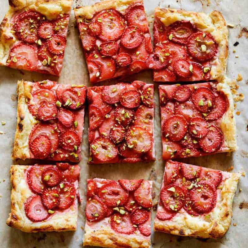 Square sliced strawberry tart.