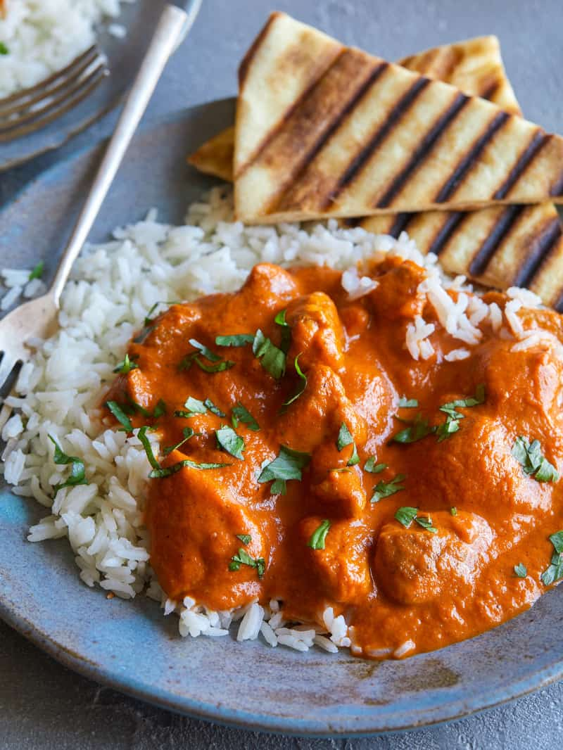 Indian Butter chicken recipe plated and ready to be eaten!