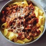 A bowl of braised pork ragu pappardelle.