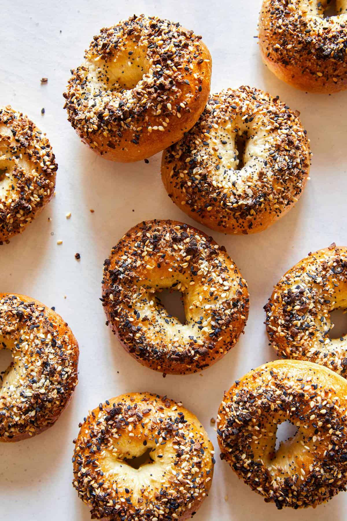 Several everything bagels.