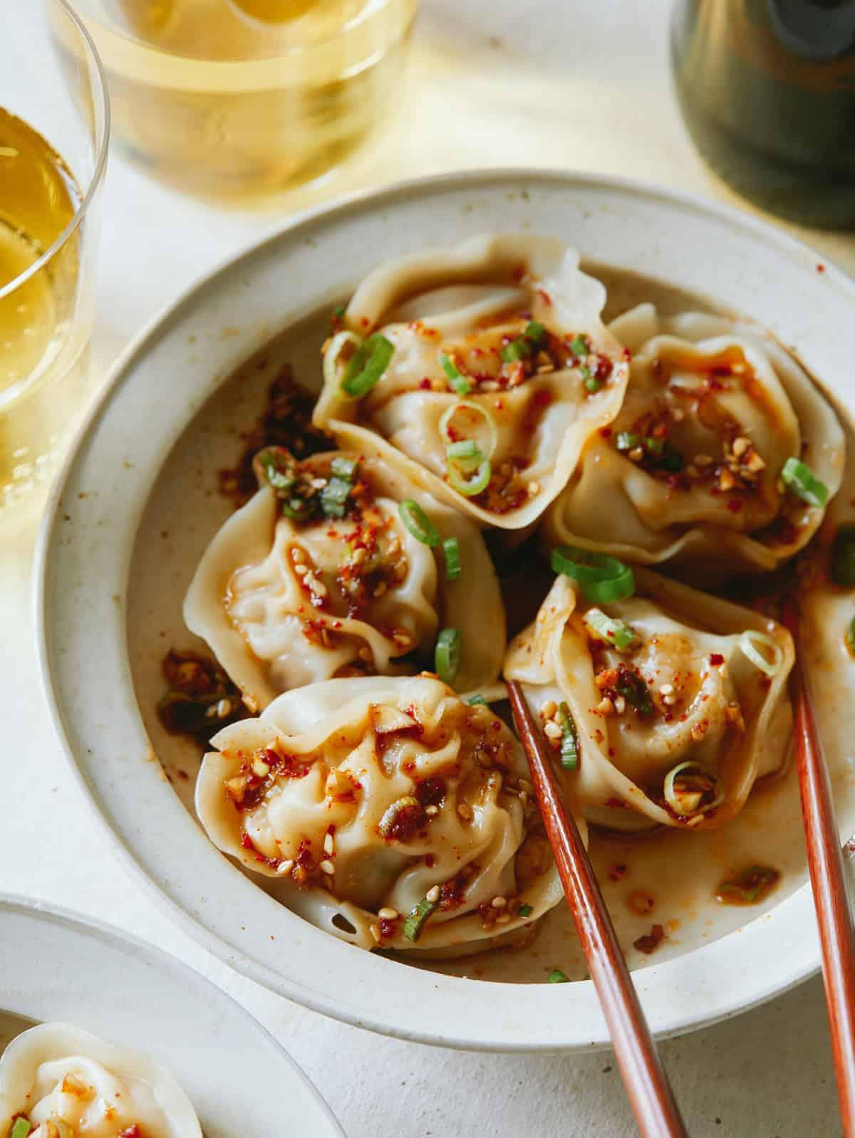 Pork and shrimp dumplings with beer on the side.