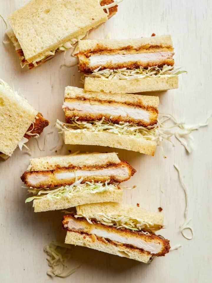 Pork katsu sandwiches cut in half.