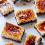 Blueberry cheesecake creme brûlée bars.