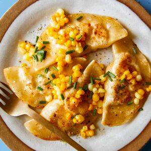 Close up shot of Creamy Corn Ravioli on a plate.