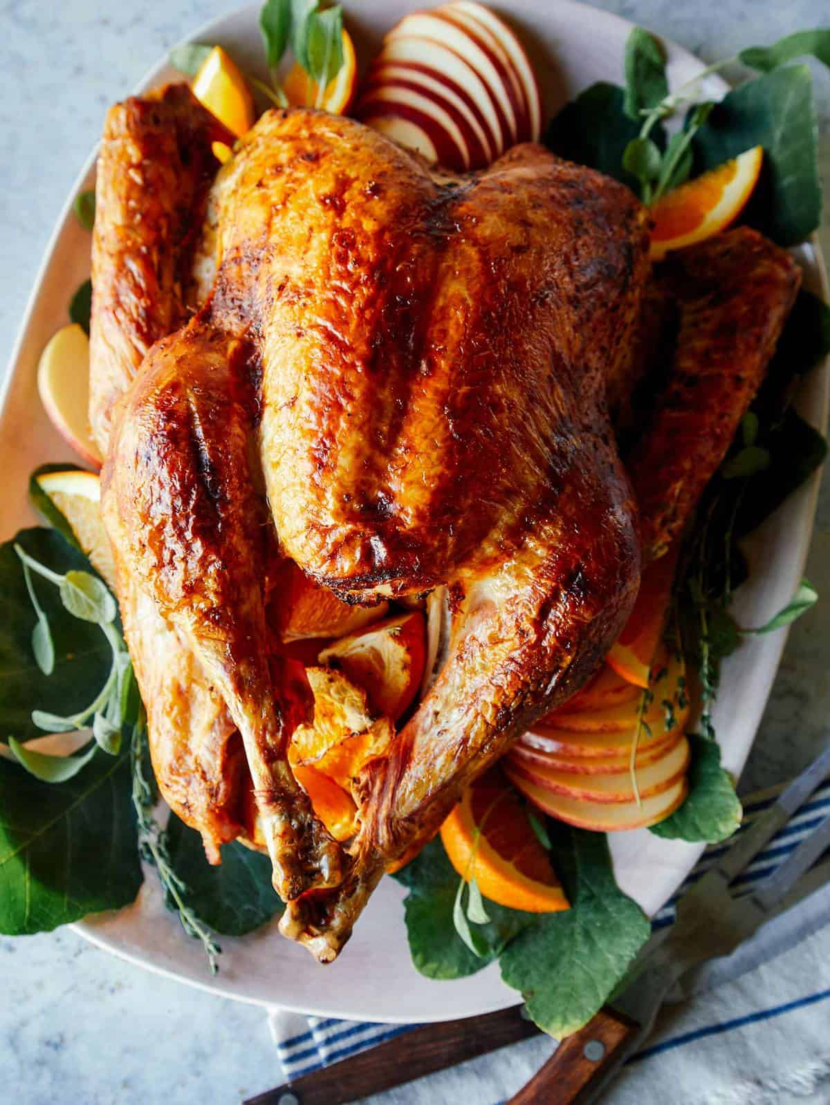 A close up of a citrus dry brined turkey on a platter.