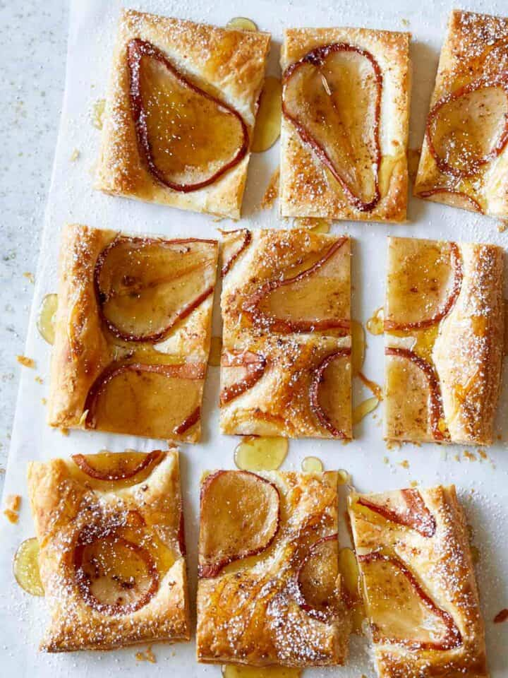 Sliced caramelized pear tart.